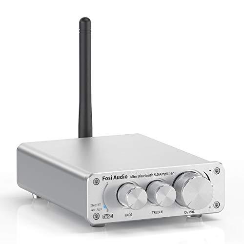 Fosi Audio BT10A Amplificateur Audio Stéréo Bluetooth 5.0 Récepteur 2 Canaux Classe D Mini Amplificateur Hi-FI Intégré pour Haut Parleurs Domestiques 50W x2 TPA3116 (Silver)