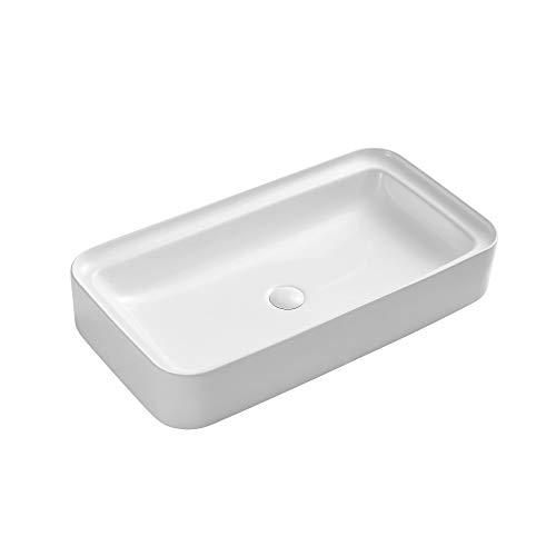 Eridanus Waschbecken mit Weißem Ablaufgarnitur aus Keramik, Aufsatzwaschbecken aus hochwertiger Sanitär-Keramik, Aufsatz-Waschschale Waschtisch Rechteckig, 76 x 40 x 14 cm