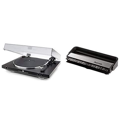 Dual DT 400 USB Vollautomatik Plattenspieler (33/45 U/min, Magnet-Tonabnehmer-System, USB-Anschluss, Entzerrer-Vorverstärker) schwarz & Hama Carbon-Faserbürste für Langspielplatten, schwarz/Silber