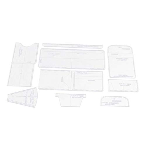 Baoblaze 9stk Acryl Vorlagen Leder Werkzeug Schablone Lederhandwerk Prägeschablonen für Portemonnaie, Börse, Brieftasche