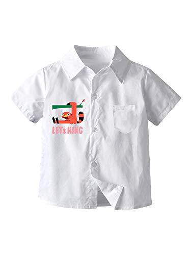 Camisa de Manga Corta para Bebé Niño Blusa Blanca de Verano con Estampado de Dibujo Animado Ropa Superior de Caballero para Cumpleaños Bautizo Escuela (Blanco, 5-6 Años)