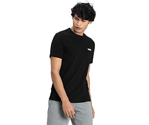 PUMA Herren T-Shirt - ESS Essentials Embroidery Logo Tee, Rundhals, Kurzarm, Uni Schwarz 4XL