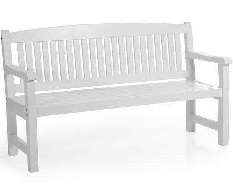 Sofá de 3 plazas para jardín, banco de madera, banco, bancos de madera maciza de pino, color blanco