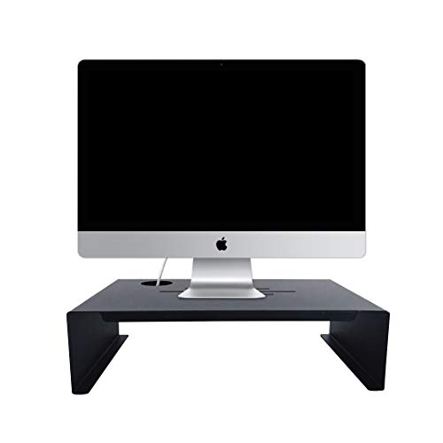 Monitor Stand Riser, Hineway Natural Wood TV Computer Screen Printer Riser with Storage Organizer Drawers (19.57.5'')