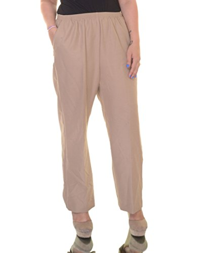 Alfred Dunner Women's Petite Polyester Pull-On Pants - Short Length, Tan, 16 Petite Short
