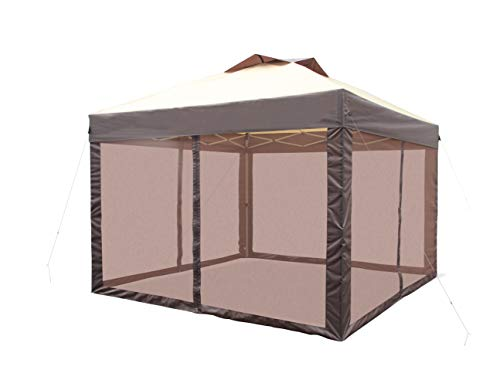 CROWN SHADES Pop up Canopy Tent Pro 11' x 11' Instant Shelter with Wheeled Carry Bag, Beige&Coffee