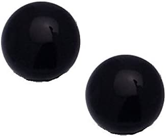 LENA 10mm Gold tone Black Button Clip On Earrings