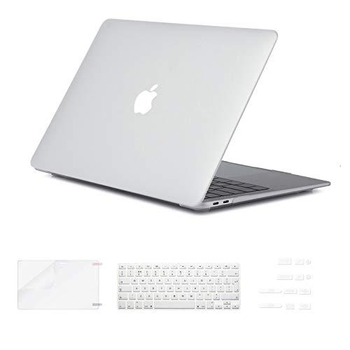 i-Buy Custodia rigida in gomma opaca con protezione per schermo, cappuccio antipolvere per Apple (Macbook Air da 13.3 pollici, Turchese)