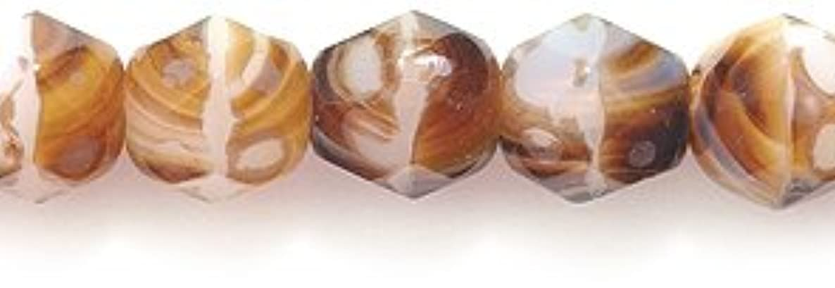 Preciosa Czech Fire 6 mm Faceted Round Polished Glass Bead, 2-Tone White/Brown Swirl, 150-Pack