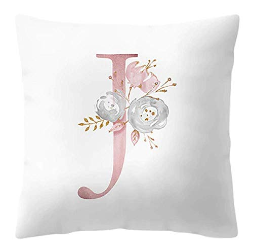 Cushion Cover - 45 cm x 45 cm - Letter J - Initial - Name - Alphabet - Decorative Cushion - Sofa - Bed - Home - Bedroom - Rose - Flowers - White and Pink