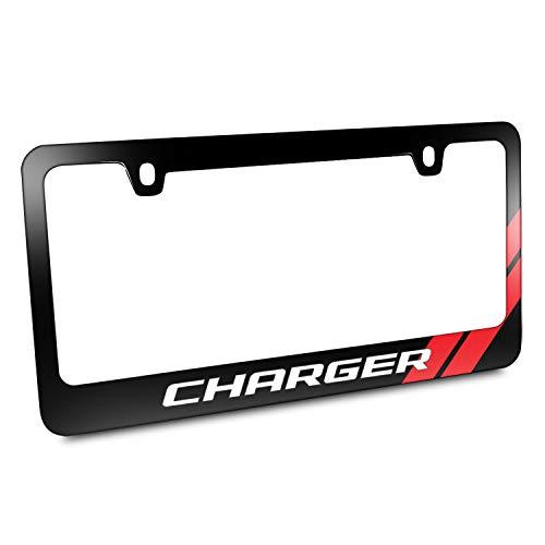 First Rober Chrysler The Winged Logo Abdeckung Chrom Schwarz Metall Kennzeichenrahmen Halter, Dodge Charger Red Stripe