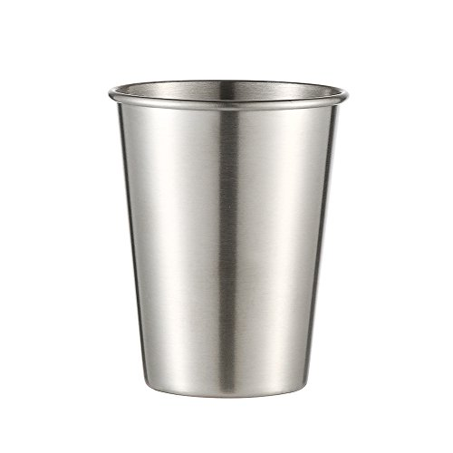 Xisheep Stainless Steel Cup,3pcs Stainless Steel Cup Drinking Juice Beer Glass Portion Cups Home Travel ToolGlass Bottle, for Home DIY in Silver