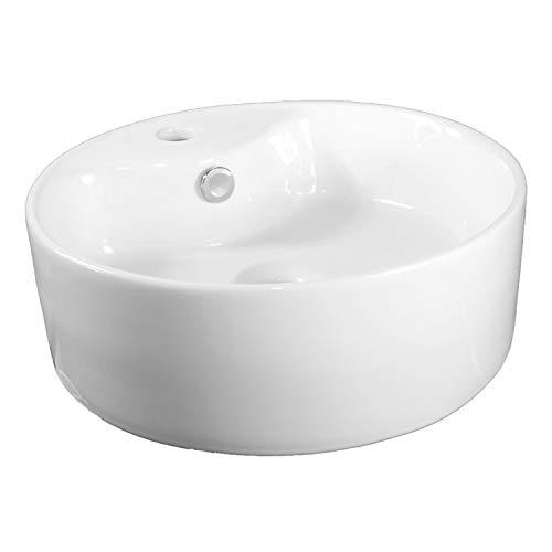 NEG Waschbecken Uno28A (rund) Aufsatz-Waschschale/Waschtisch (weiß) mit hohem Rand und Nano-Beschichtung