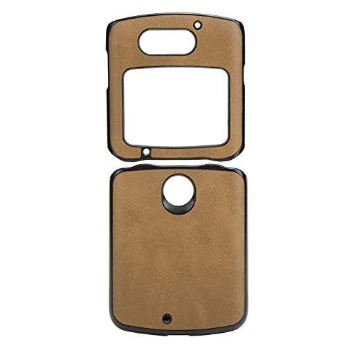 Handyhüllen Stoßfeste Handy Lederhülle PU Lederhülle Hülle Handy Lederhülle für Razr 5G(Brown)