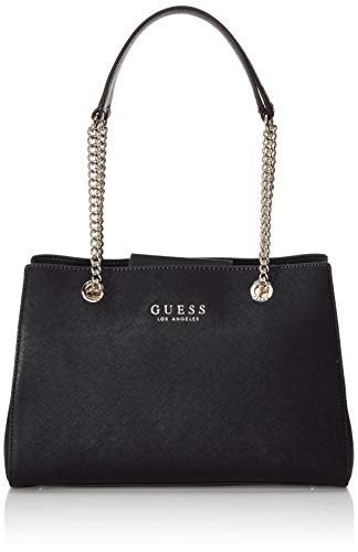 Guess Robyn Girlfriend Satchel, Borsa a Mano Donna, Nero (Black), 12x22x32 cm (W x H x L)