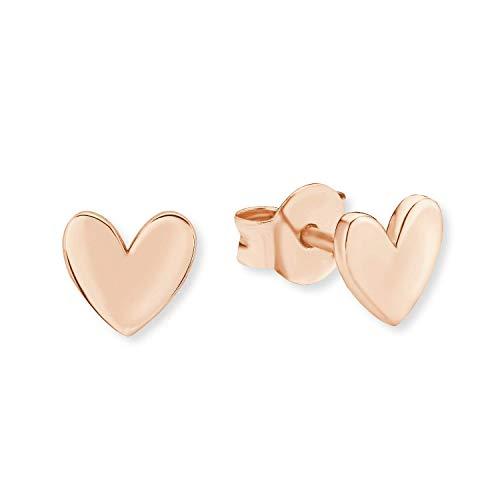 s.Oliver - Orecchini da donna a forma di cuore, in argento Sterling 925, placcati in oro rosa, gioielli per donne e ragazze, diametro 6 mm