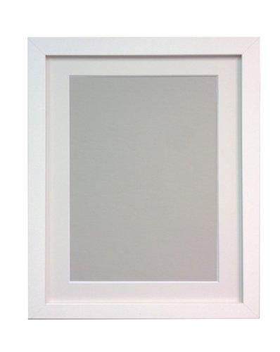 Frames by Post H7 - Marco para foto o lámina, blanco, 25 mm de ancho, con paspartú blanco, tamaño DIN A3, para lámina tamaño DIN A4, con cristal de plástico