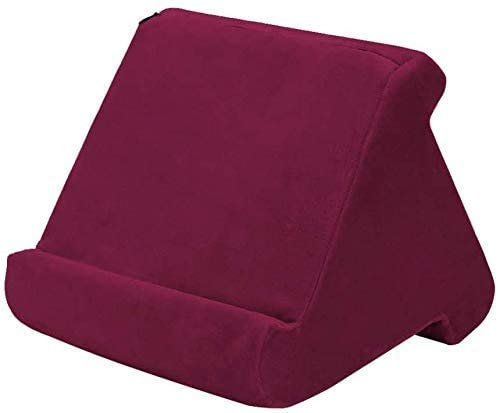 ZEUSE® Soporte de almohada para tableta, libro, soporte de lectura para el hogar, cama, sofá, multiángulo, suave, soporte para tableta, soporte para lectores electrónicos (borgoña)