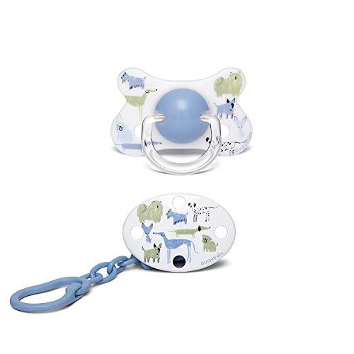 Suavinex - Pack Chupete 4/18 meses + Broche ovalado. Chupete con tetina fisiológica de silicona. color Perritos Azul