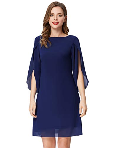 The shift dress with 3/4 slit sleeve, flowing,charming,suitable for spring,summer and fall Modest knee length and front scroop neckline,V back neck,makes you elegant but stylish The summer chiffon dress is perfect for casual,beach,party,club,cocktail...