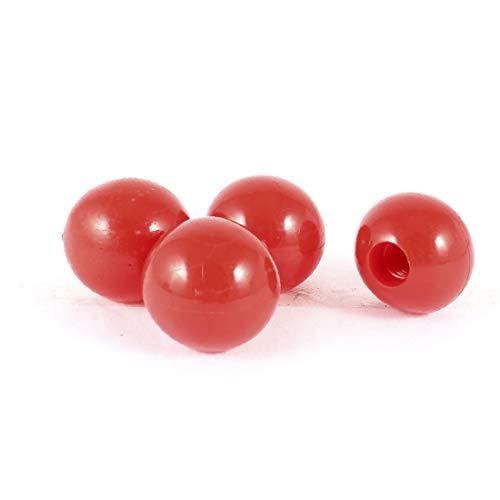 X-DREE 4 Pcs Plastic Female Threaded 32mmx10mm Round Ball Lever Knob Red(4 piezas de plástico hembra roscada 32mmx10mm perilla de palanca de bola redonda roja