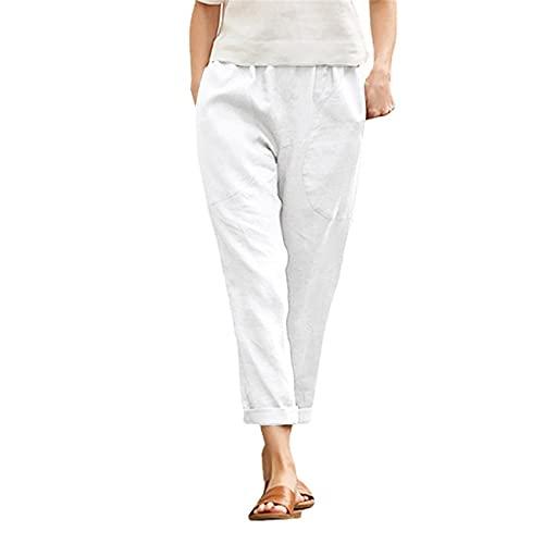 SeñOras Damas Bolsillos Grandes Color SóLido CóModo AlgodóN Y Lino Pantalones Casuales Pantalones De Pierna Recta Mujeres