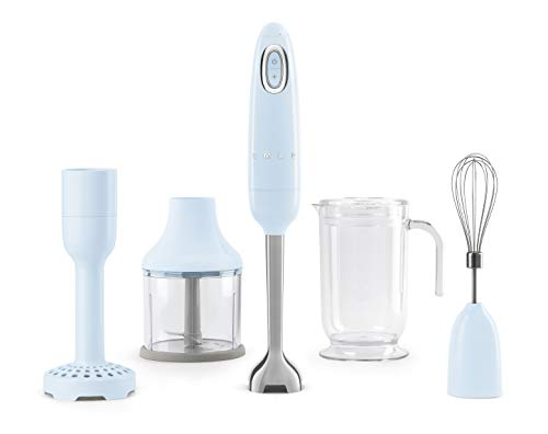 Smeg HBF02PBUK Hand Stick Blender with Innovative FlowBlend System, Stainless Steel Blade, Variable Speed, Turbo Button, Includes Chopper, Whisk, Beaker and Potato Masher, 700 W, Pastel Blue