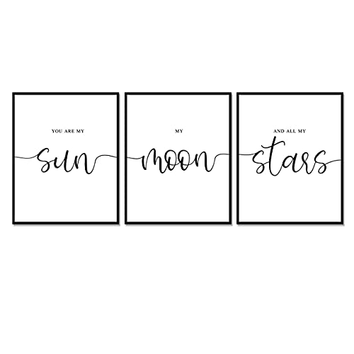 Set of 3 Prints, You Are My Sun My …