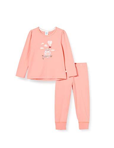 Sanetta Mädchen Schlafanzug Peach Langer Pyjama in Rosa romantischem Eulen-Artwork, 104