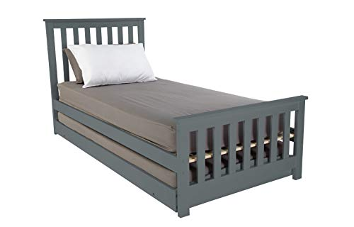 Visco Therapy Oxford 3FT Wooden Bed Frame with Pullout Trundle Guest Bed,...
