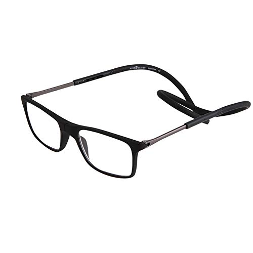 Qingxi leesbril met magneet voor dames en heren +1.0 tot +3.5 Presbiopia verstelbaar frame, inklapbaar, licht magnetisch hangende stang om aan de hals op te hangen