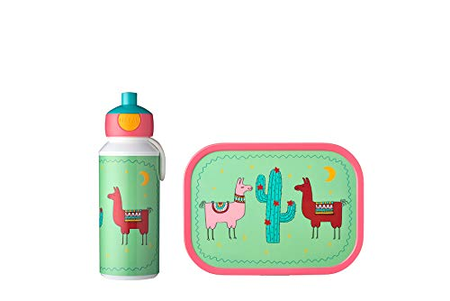 Mepal Pausenset Campus Lama – Trinkflasche und Brotdose mit Bento-Einsatz – ideal für Schule und Freizeit – spülmaschinenfest, ABS, 400 ml + 4 butterbroten