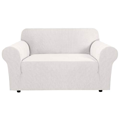 Stretch Couch Cover Loveseat Covers for 2 Cushion Couch Loveseat Slipcover|Sofa Cover for Loveseat 1 Piece with Elastic Bottom, Textured Checked Jacquard Fabric(Loveseat 58'-72' Wide, Ivory White)