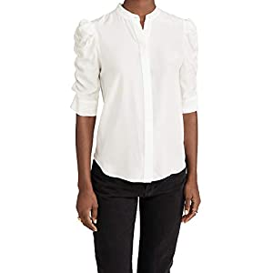 FRAME Women's Shirred Sleeve Button Up