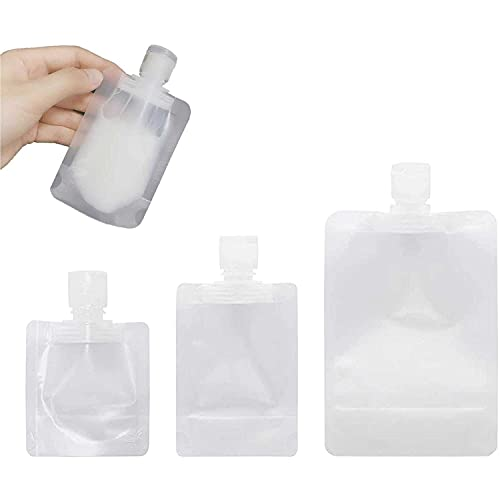 30Pcs Portable Travel Fluid Makeup Packing Bag,30ml/50ml/100ml Plastic Stand Up Spout Pouch,transparent Clamshell Packaging Bag,Liquid Dispensing Bags for Mask Mud/lotion/jam
