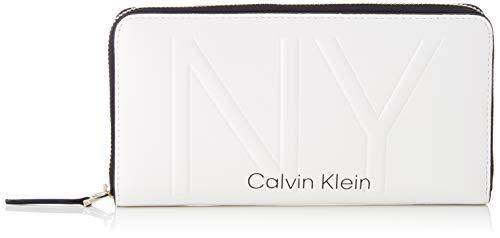 Calvin Klein Damen Shaped Lrg Ziparound Geldbörse, Weiß (White), 14x3x22 centimeters