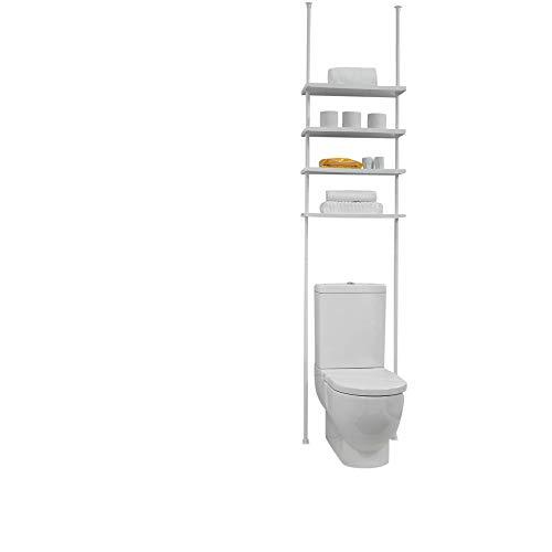 Badkamerrek Erica, vier witte planken, uittrekbare stang met een speelruimte van 210-270 cm toegestaan PVC-coating, 100% roestvrij, praktisch product.