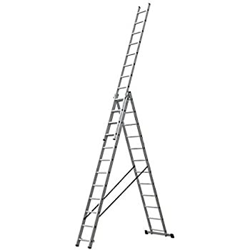 ALTIPESA Escalera Profesional de Aluminio Triple Tijera un Acceso con Tramo Extensible 3 x 14 peldaños Serie Triple: Amazon.es: Hogar