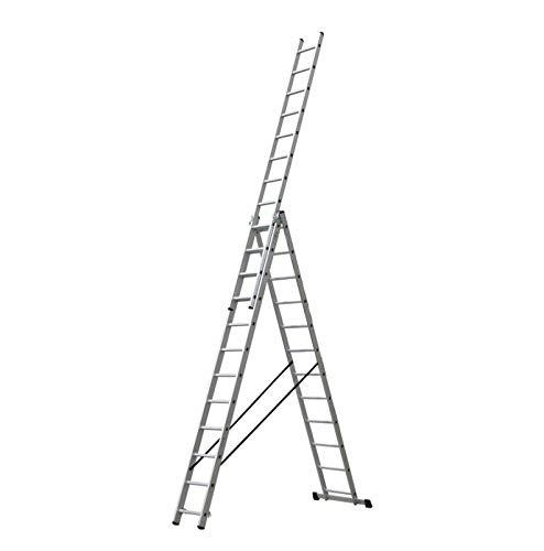 Escalera Triple Tijera 3.5 Metros, Profesional de Aluminio 3 Tramos Extensibles (3.5+3.5+3.5 mts). Escada Tripla (3.5+3.5+3.5 mts)