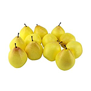 JEDFORE Simulation Artificial Lifelike Fake Pear Set Fake Fruit for Home House Kitchen Wedding Party Decoration Photography Props – 12 Pcs Light Yellow