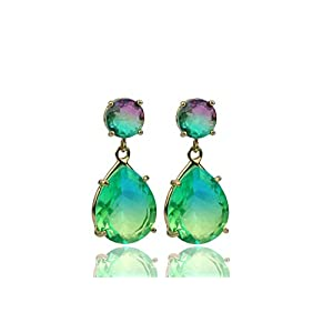 14K Gold Pink Green Watermelon Tourmaline Dangling Earrings