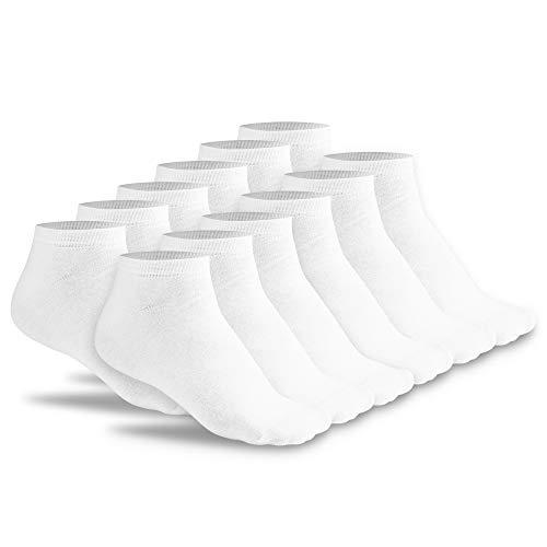 FLINK Herren Damen Sneaker Socken 6 Paar Beste Qualität Weiß 43-46 (6 Paar) I Lange Haltbarkeit I Footie Quarter Low Cut Ankle Halbe Socks