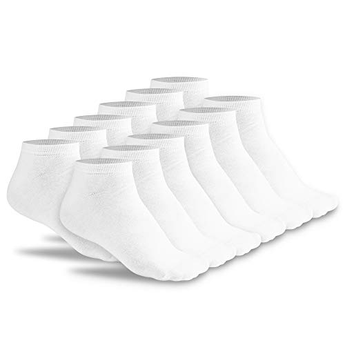FLINK Herren Damen Sneaker Socken 6 Paar Beste Qualität Weiß 39-42 (6 Paar) I Lange Haltbarkeit I Footie Quarter Low Cut Ankle Halbe Socks