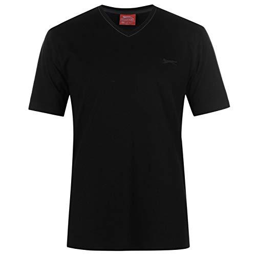 Slazenger Herren V-Ausschnitt T Shirt Kurzarm Tee Top Bekleidung Schwarz XXXXL