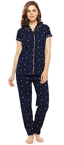 ZEYO Women's Cotton Navy Blue Leaf Print Night Suit Set