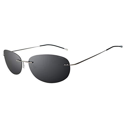 RONSOU Ultraleichte Randlose Reine Titan-bunte Mode Polarisierte Sonnenbrille für Männer und Frauen_Grauer Rahmen Graue Linse