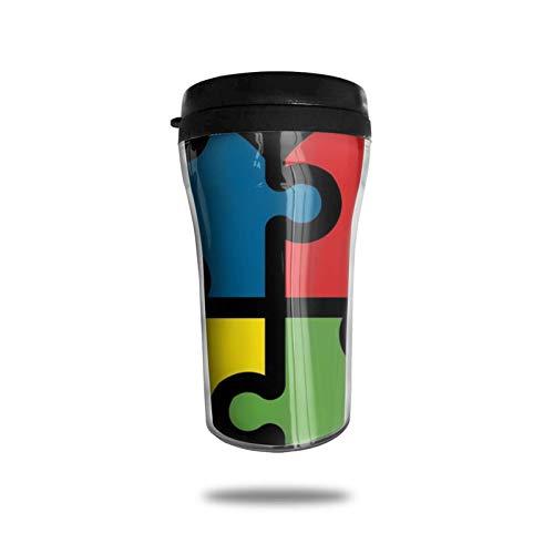 Taza de café de viaje con impresión 3D, taza de té aislada, taza de agua, taza de viaje para hombres, mujeres y niños, conciencia del autismo