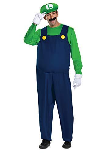 Men's Luigi Deluxe Adult Costume, M to 2XL