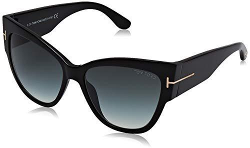 Tom Ford TF371 01B Black Anoushka Pilot Sunglasses Lens Category 2 Size 57mm
