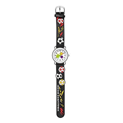 CXJC Reloj de Cuarzo Impermeable de 4 a 12 años de Edad, Reloj de Cuarzo Impermeable, Reloj de Estudiante de fútbol en Relieve 3D, Reloj Deportivo Lindo para Hombres y Mujeres (Color : Re)